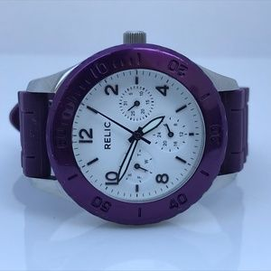 Relic Brand Women Watch Purple Silver Tone Analog